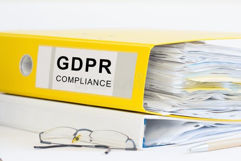GDPR-kontorsmapp royaltyfri bild
