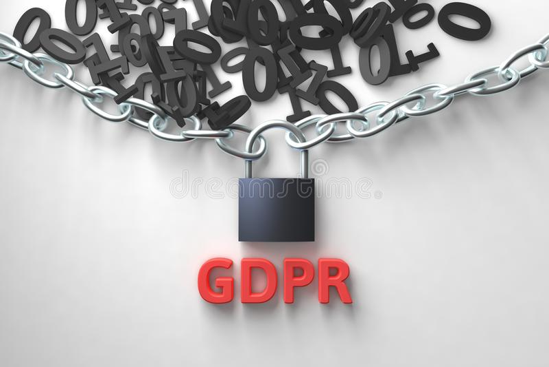 GDPR-Konzeptillustration Allgemeine Daten-Schutz-Regelung, die Schutz Personenbezogener Daten Daten und Kette mit Verschluss stock abbildung