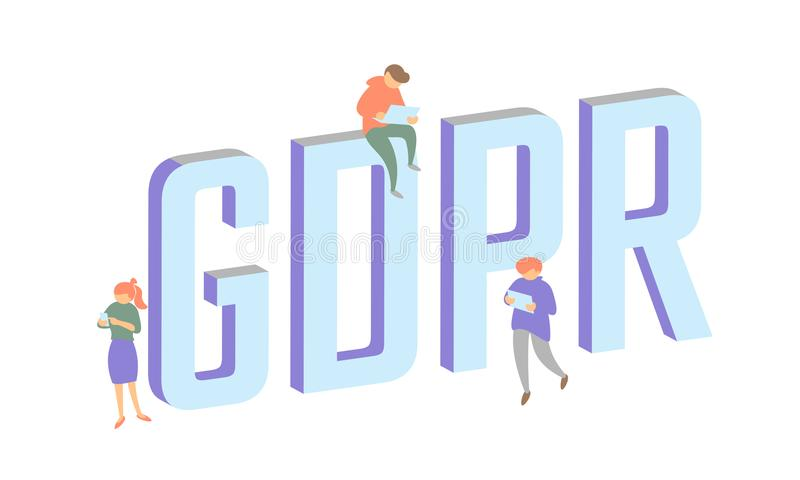 GDPR law isometric people concept. Small men Big letters flat 3D general data protect regulation security. Pastel color. Privacy personal information safety stock illustration