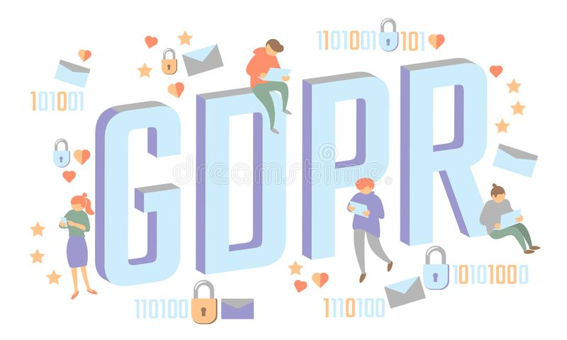 GDPR law isometric people concept. Small men Big letters flat 3D like padlock general data protect regulation security. Pastel color privacy personal stock illustration