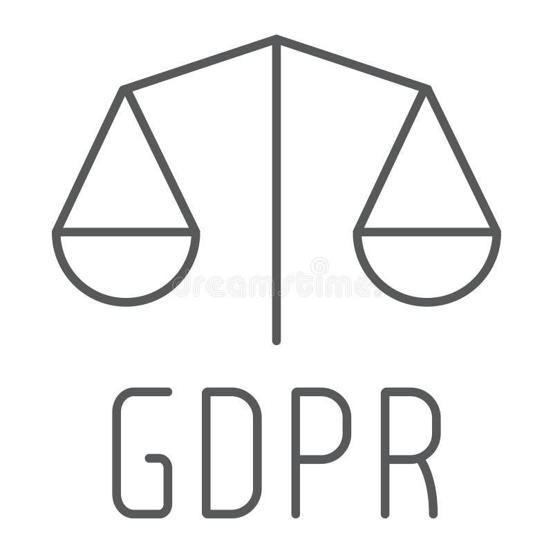 Gdpr libra cienka kreskowa ikona, prywatność i ochrona, gdpr legalności znak, wektorowe grafika, liniowy wzór na bielu ilustracja wektor
