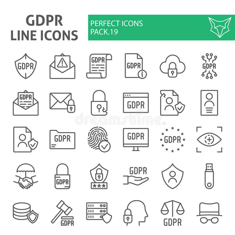 Gdpr line icon set, general data protection regulation symbols collection, vector sketches, logo illustrations, security vector illustration