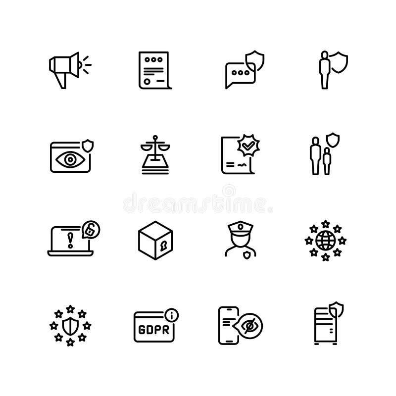 Gdpr linje symboler Avskildhetspolitik, digital informationssäkerhet om affär och nya symboler för vektor för internetnormal vektor illustrationer