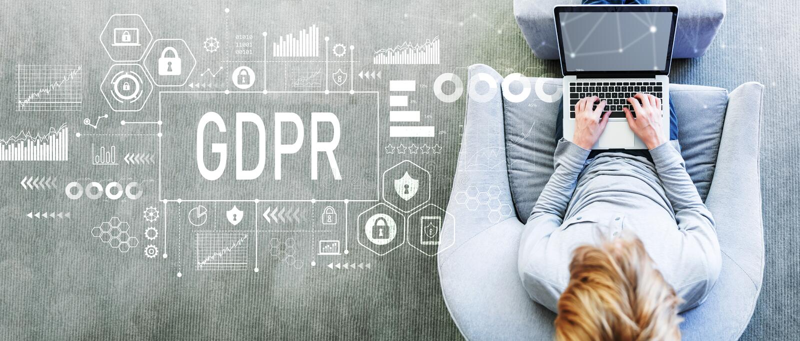 GDPR with man using a laptop royalty free stock images