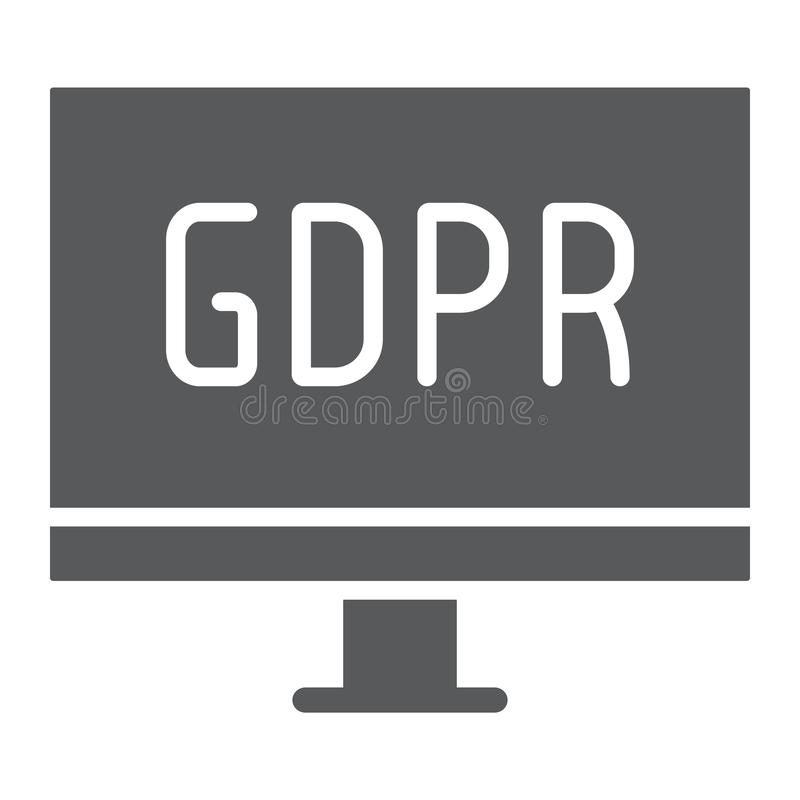 Gdpr monitor glyph icon, computer and screen, desktop sign, vector graphics, a solid pattern on a white background. Gdpr monitor glyph icon, computer and screen royalty free illustration