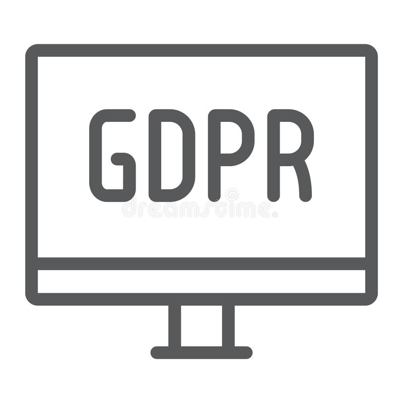 Gdpr monitor line icon, computer and screen, desktop sign, vector graphics, a linear pattern on a white background. Gdpr monitor line icon, computer and screen vector illustration