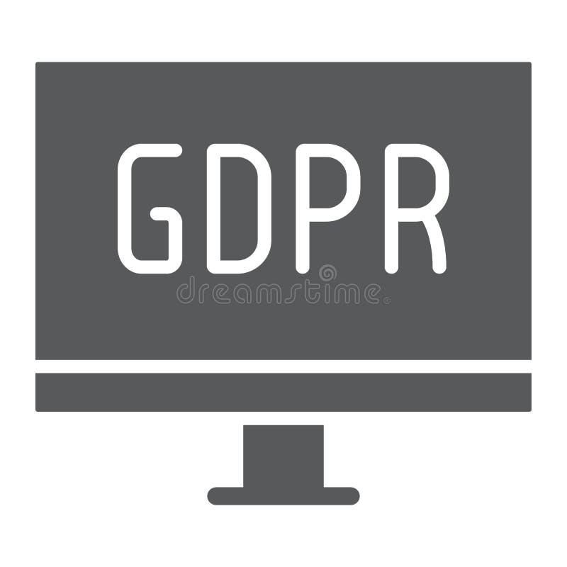 Gdpr monitoru glifu ikona, komputer i ekran, desktop znak, wektorowe grafika, bryła wzór na białym tle royalty ilustracja