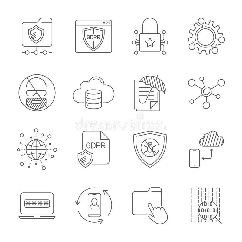 GDPR och avskildhetspolitik, Digital skydd, säkerhetsteknologi, enkel symbolsuppsättning Redigerbar slagl?ngd 10 eps royaltyfri illustrationer