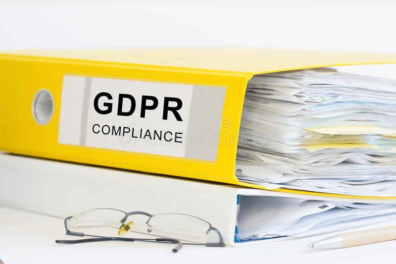GDPR office folder. GDPR compliance office folder or ring binder royalty free stock image