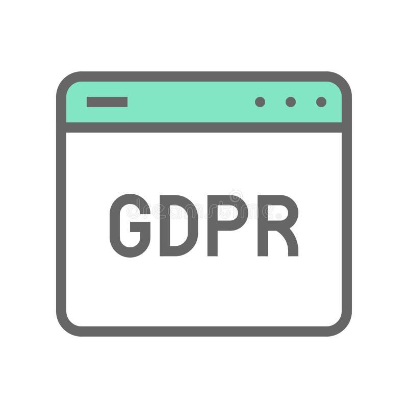 GDPR Ogólnego ochrona danych Przepisowa ikona, wypełniający styl ilustracja wektor