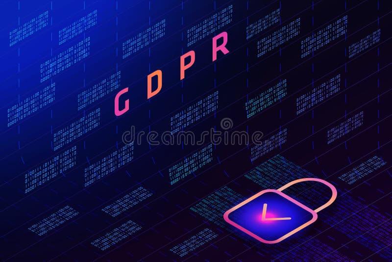 GDPR - Ogólny ochrona danych przepis, kędziorek na tle matrycowy kod i royalty ilustracja