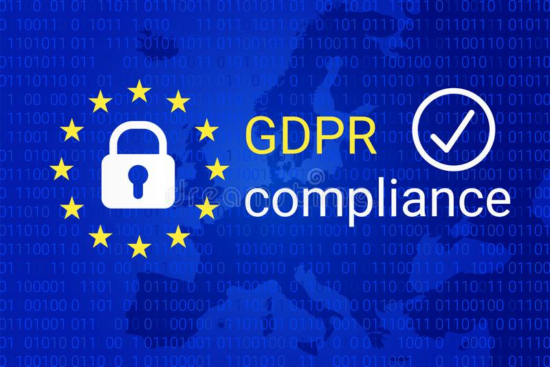 GDPR - Ogólnych dane ochrony przepis GDPR zgodności symbol wektor royalty ilustracja