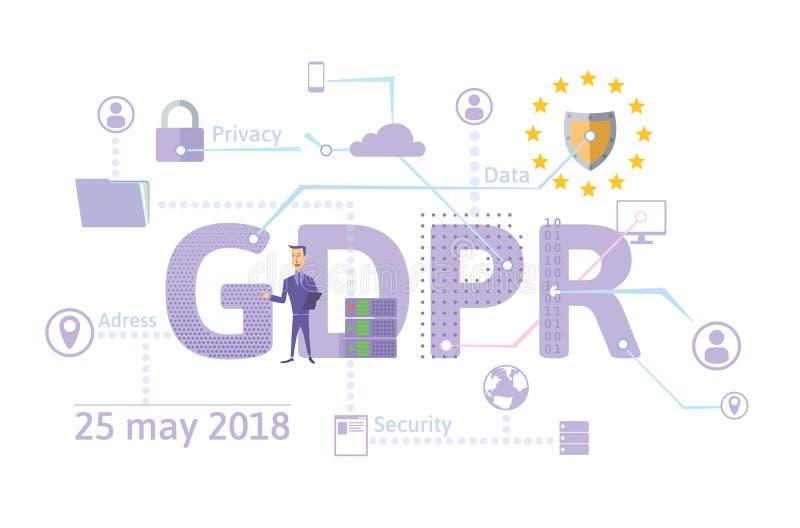 GDPR pojęcia ilustracja Ogólnych dane ochrony przepis Ochrona osobiści dane Wektor, odizolowywający dalej ilustracja wektor