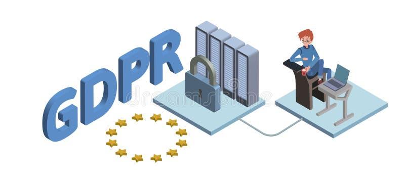 GDPR pojęcia isometric ilustracja Ogólnych dane ochrony przepis Ochrona osobiści dane Wektor, odizolowywający royalty ilustracja