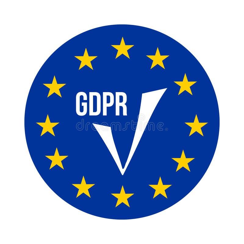 GDPR - Règlement général de protection des données, icône de confirmation illustration stock