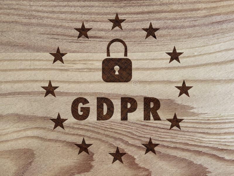 GDPR - Règlement général de protection des données sur le bois Technique de Pyrography illustration libre de droits