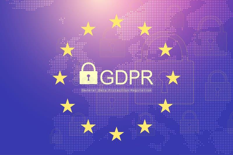 GDPR - Reglering för skydd för allmänna data Prickig Europa översikt och flagga Skydd av personliga data också vektor för coreldr vektor illustrationer