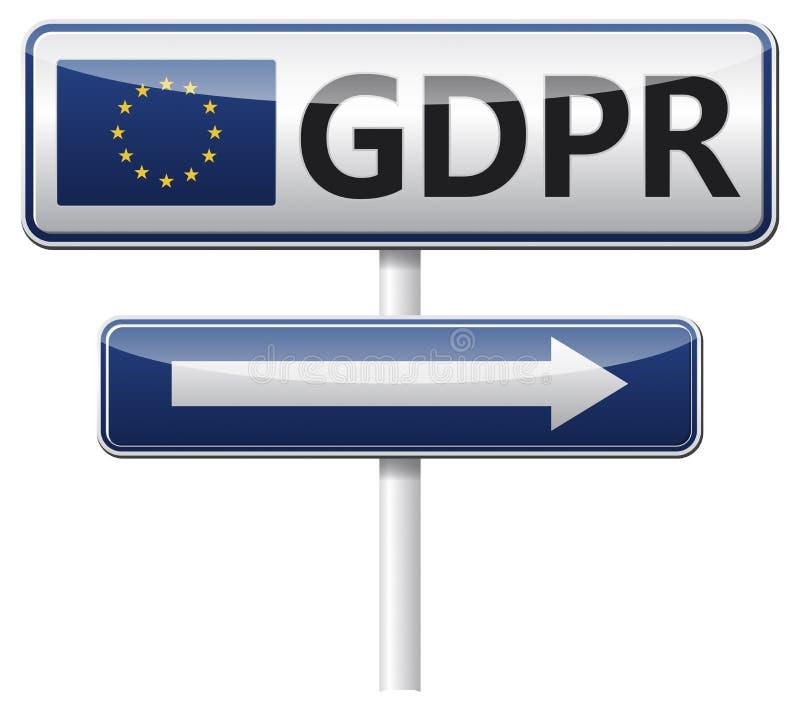 GDPR - Reglering för skydd för allmänna data trafik för tecken för röda band för omvägrampekare träungefärlig stock illustrationer
