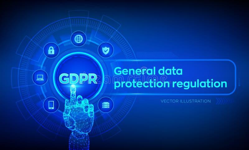 GDPR Reglering f?r skydd f?r allm?nna data Cybersäkerhet och avskildhetsbegrepp på den faktiska skärmen Skydd av personlig inform stock illustrationer