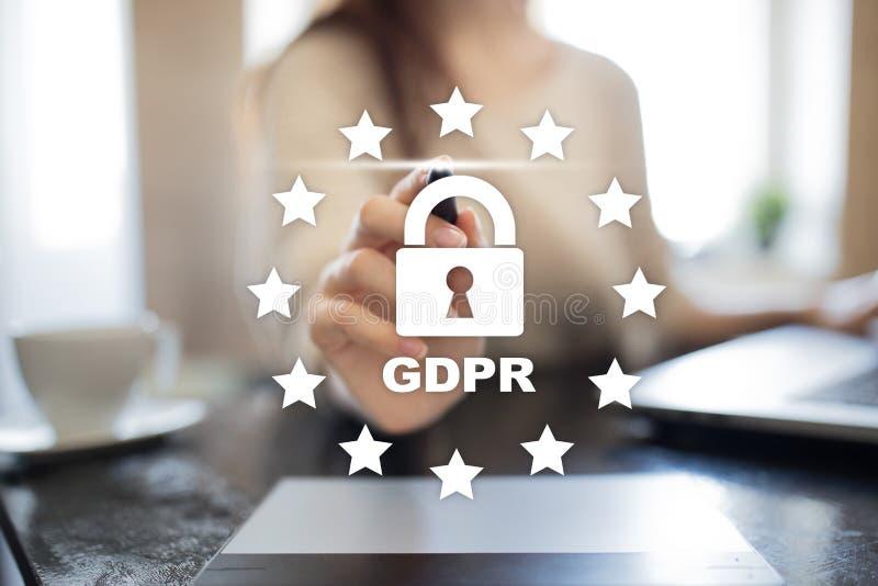 GDPR Regolamento di protezione dei dati Sicurezza cyber e segretezza fotografia stock libera da diritti
