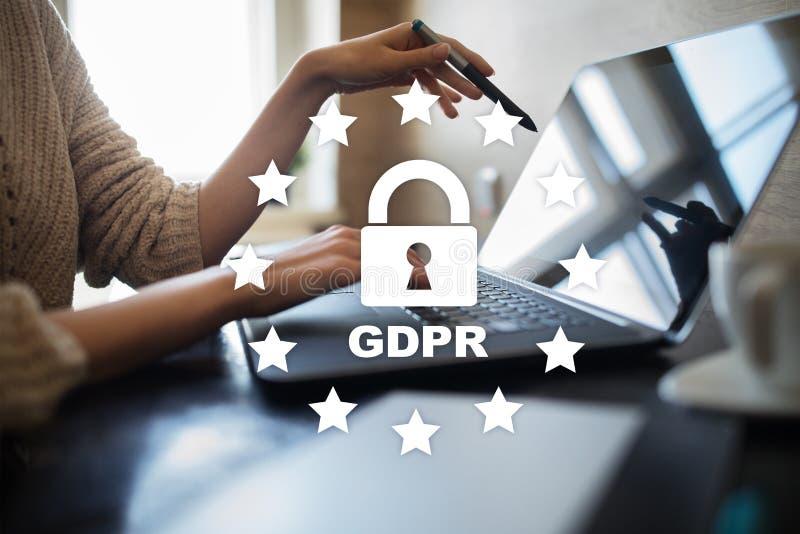 GDPR Regolamento di protezione dei dati Sicurezza cyber e segretezza fotografie stock libere da diritti