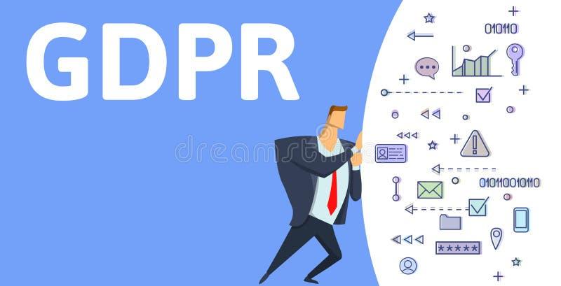 GDPR, regolamento generale di protezione dei dati Equipaggi la spinta della nuvola dei simboli digitali su fondo blu con il testo illustrazione di stock