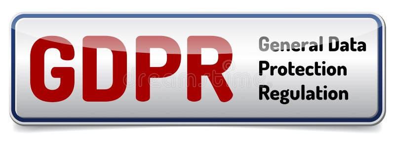 GDPR - Regulación general de la protección de datos Bandera brillante con sh ilustración del vector