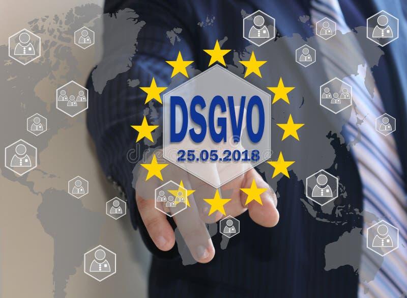 GDPR, regulación general de la protección de datos en la lengua alemana DSGVO, Grundlegende Datenschutzbestimmungen imagen de archivo libre de regalías