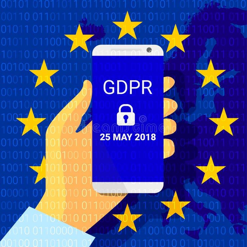 GDPR - Regulación general de la protección de datos Fondo de la tecnología de seguridad Vector ilustración del vector