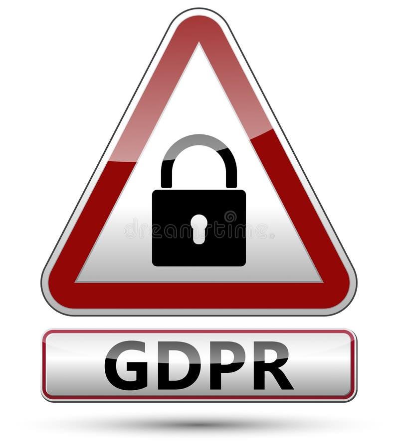GDPR - Regulación general de la protección de datos Señal de tráfico con el cojín stock de ilustración