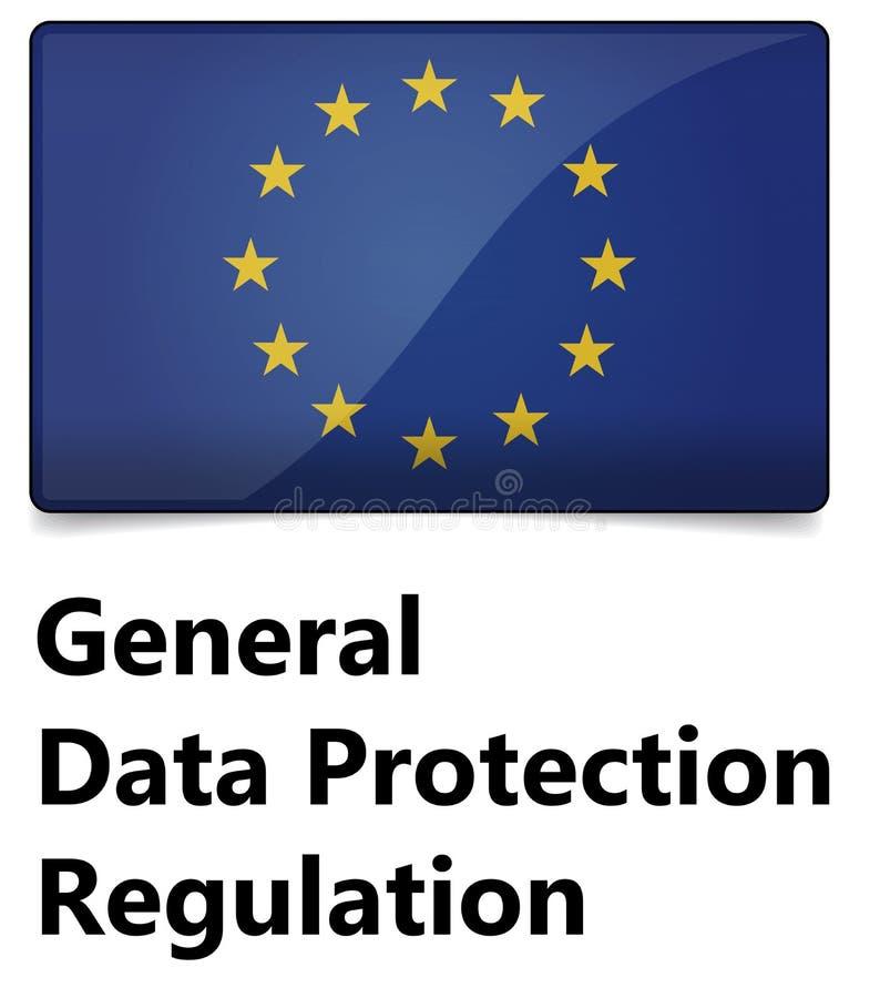 GDPR - Regulación general de la protección de datos La UE señala por medio de una bandera con las estrellas libre illustration