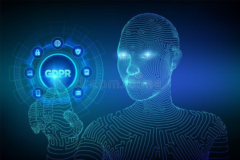 GDPR Regulaci?n general de la protecci?n de datos Concepto cibernético de la seguridad y de la aislamiento en la pantalla virtual ilustración del vector