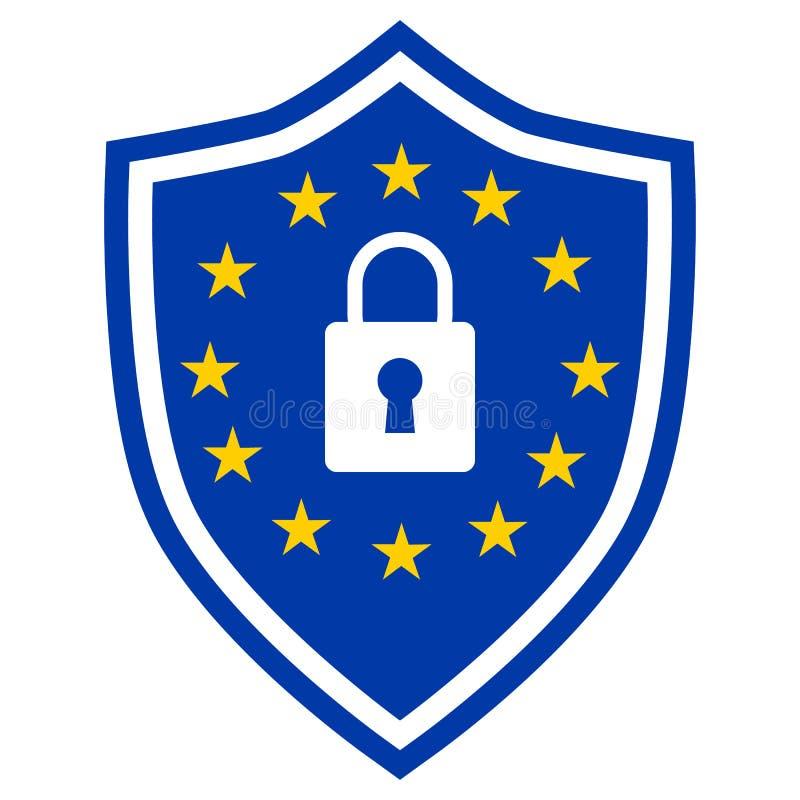 GDPR - Regulamento geral da proteção de dados, ícone do protetor com cadeado ilustração stock