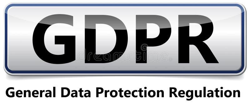 GDPR - Regulamento geral da proteção de dados Bandeira lustrosa com sh ilustração stock