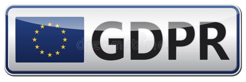 GDPR - Regulamento geral da proteção de dados Bandeira lustrosa com UE ilustração do vetor
