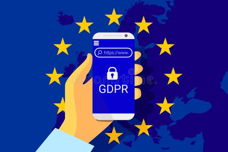 GDPR - Regulamento geral da proteção de dados Fundo da tecnologia de segurança Vetor ilustração stock
