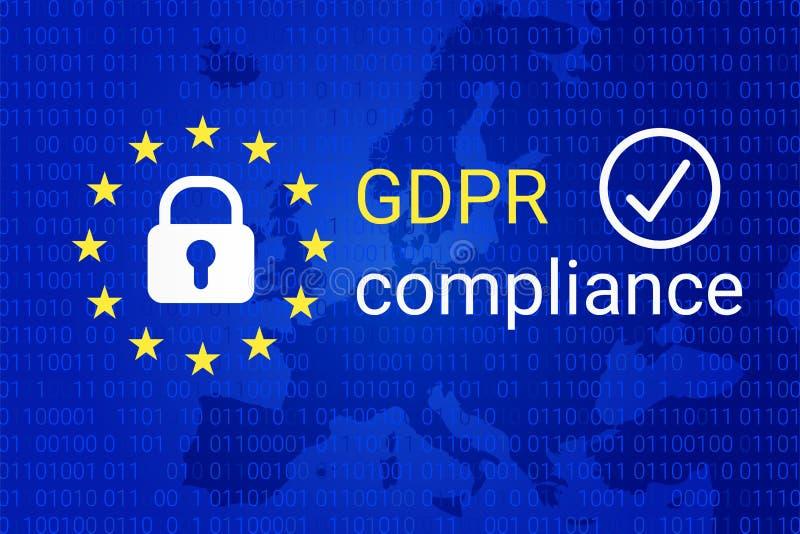 GDPR - Regulamento geral da proteção de dados Símbolo da conformidade de GDPR Vetor ilustração royalty free