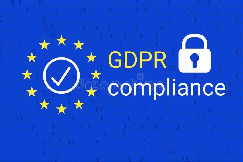 GDPR - Regulamento geral da proteção de dados Símbolo da conformidade de GDPR Vetor ilustração stock