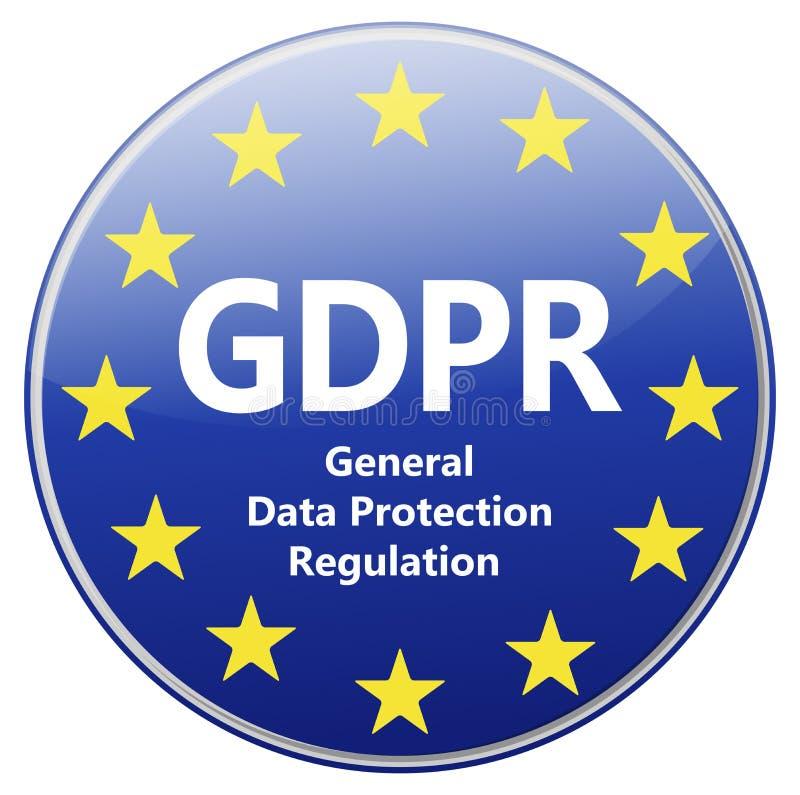 GDPR - Regulamento geral da proteção de dados Sinal com estrelas da UE ilustração stock