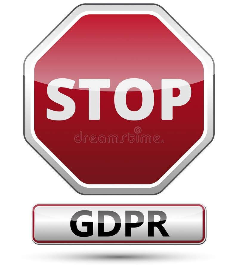 GDPR - Regulamento geral da proteção de dados Sinal de tráfego ilustração do vetor