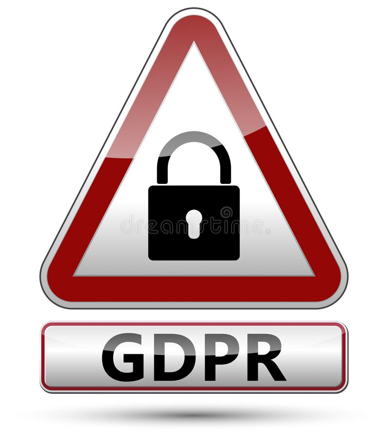 GDPR - Regulamento geral da proteção de dados Sinal de tráfego com almofada ilustração stock