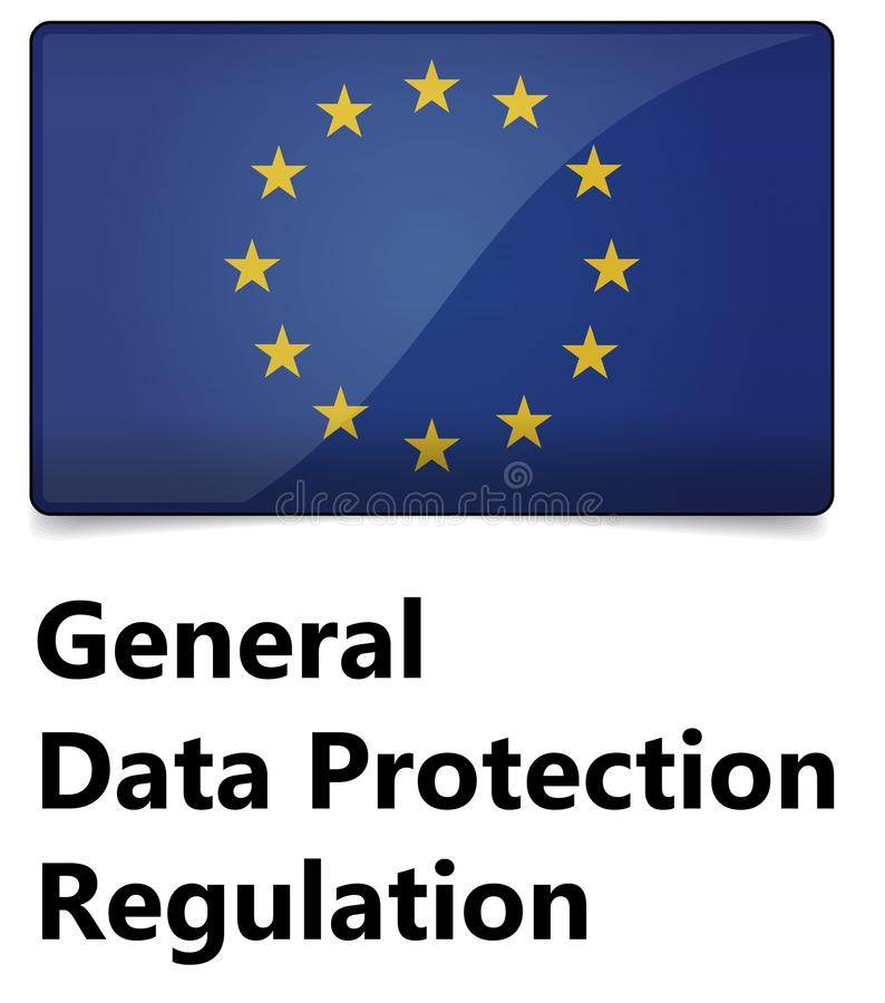 GDPR - Regulamento geral da proteção de dados A UE embandeira com estrelas ilustração royalty free