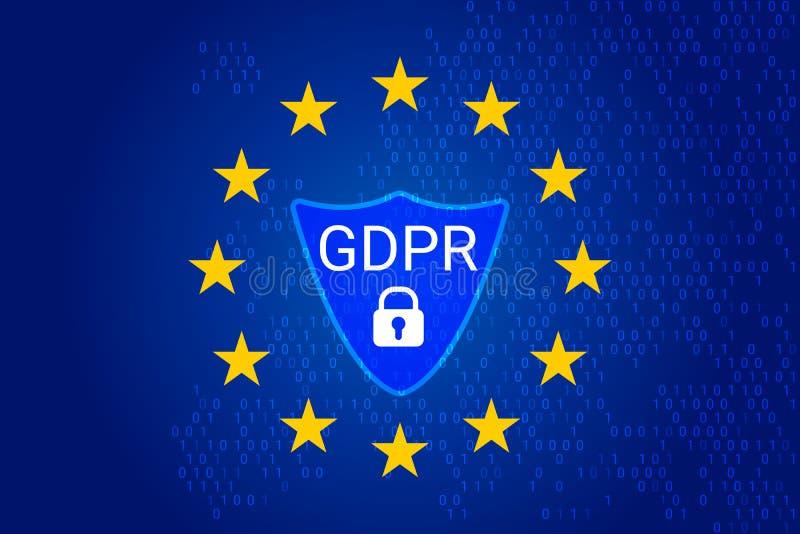 GDPR - Regulamento geral da proteção de dados Vetor ilustração stock