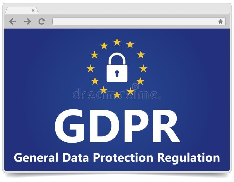GDPR - Regulamento geral da proteção de dados Web browser com padl ilustração stock