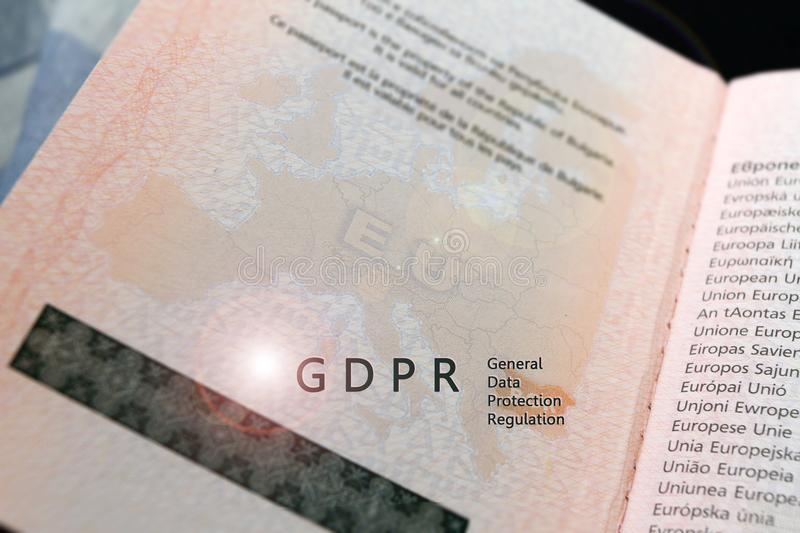 GDPR regulation text General Data Protection Regulation on a map of European union EU on a passport, with copy space for text. And written text Europe on every royalty free stock photos