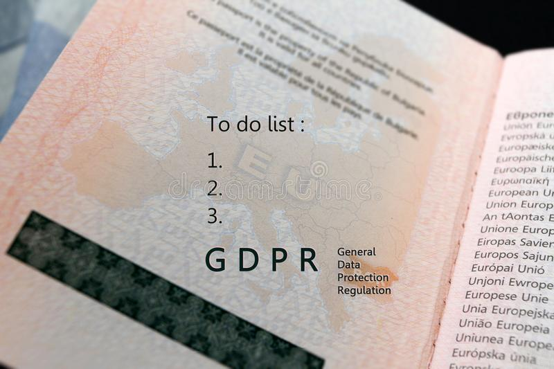GDPR regulation text General Data Protection Regulation and To do list text on a map of European union EU on a passport, with. Copy space for text and written royalty free stock images