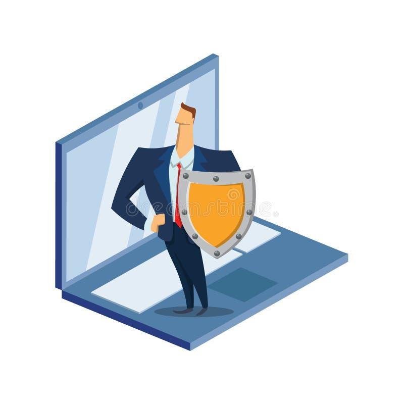 GDPR RGPD, DSGVO-begreppsillustration Reglering för skydd för allmänna data Skyddet av personliga data Dator royaltyfri illustrationer