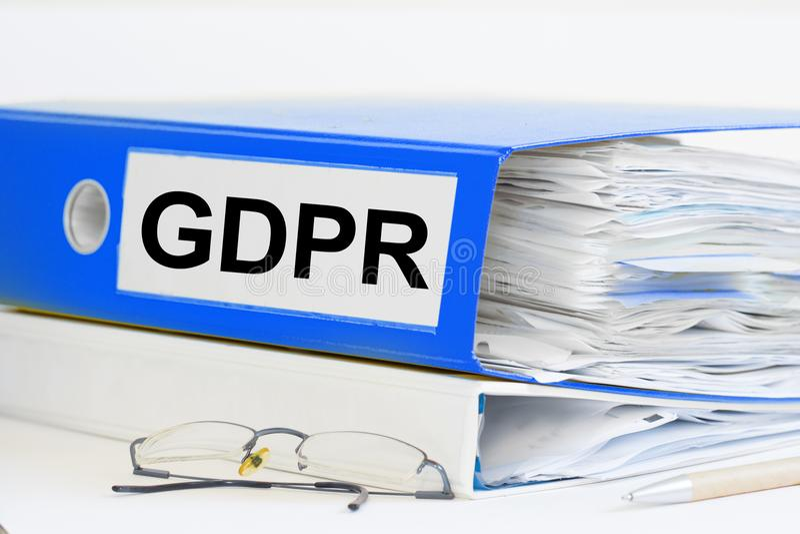 GDPR ringowy segregator obraz stock