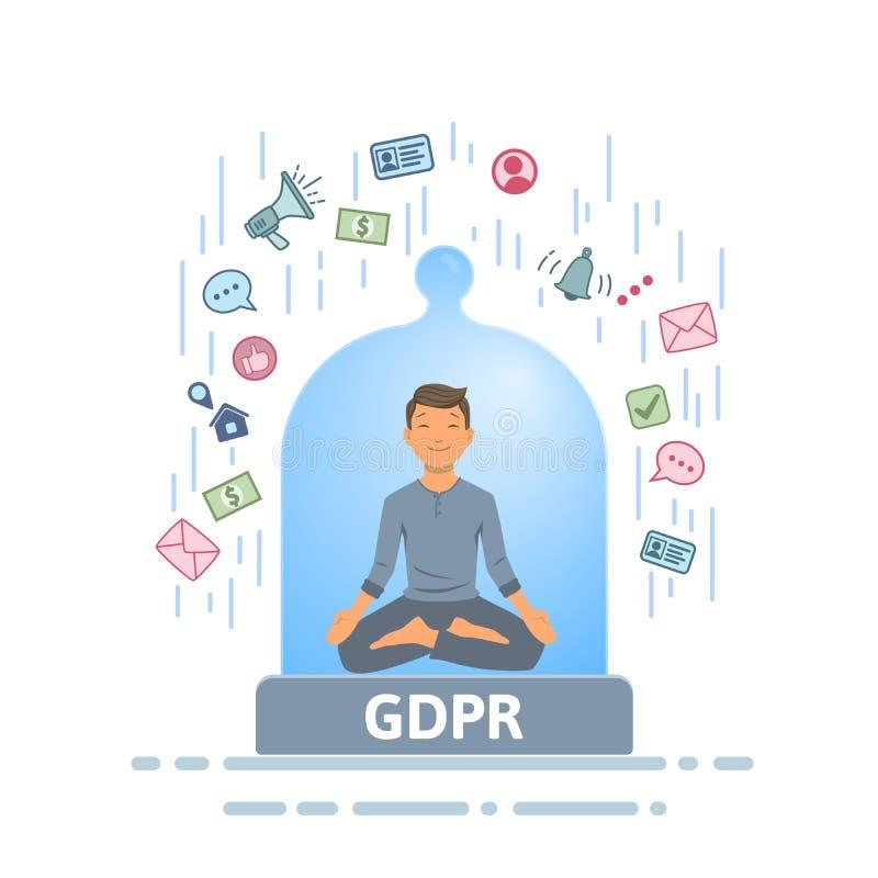 GDPR-säkerhet Meditera mannen som känner sig trygg från informationsström inom av den glass kupolen Plan vektorillustration stock illustrationer