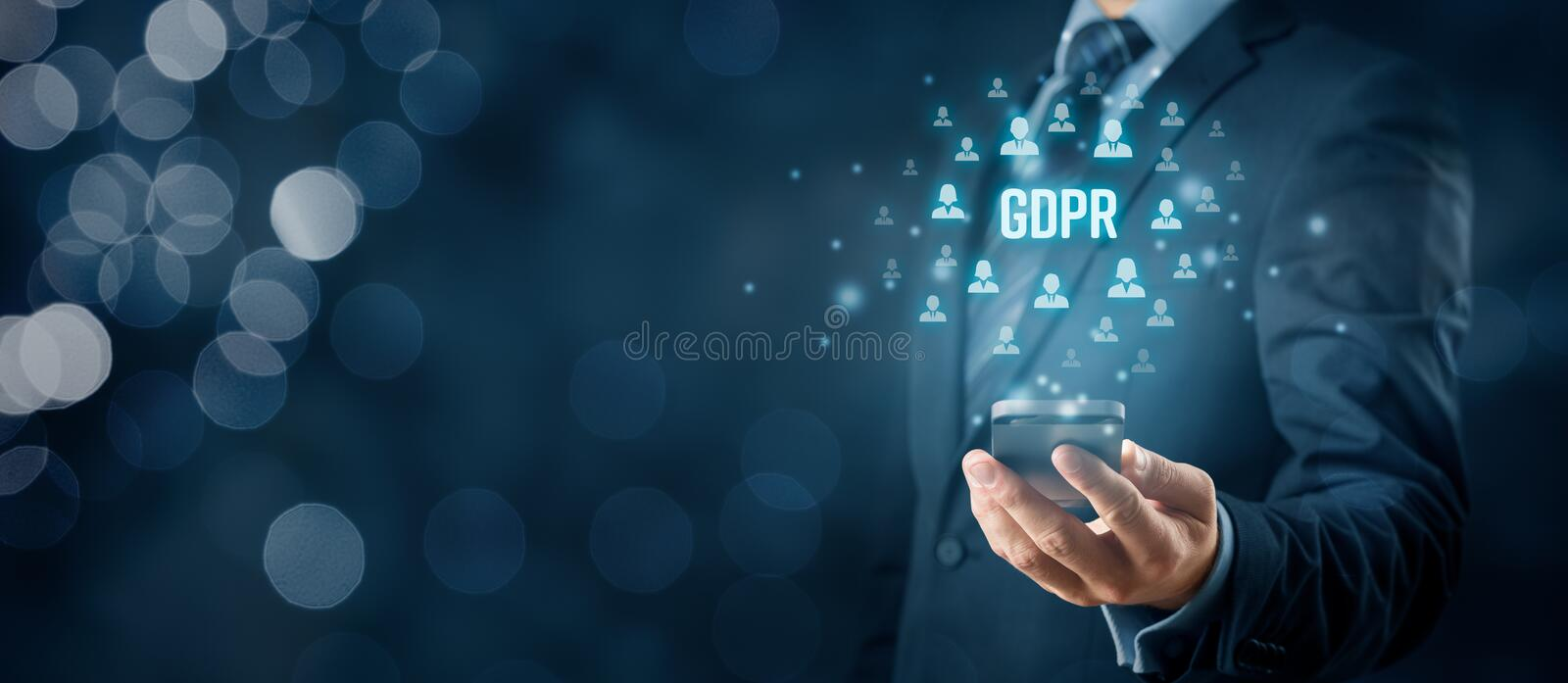 GDPR and smart phone concept royalty free stock photo